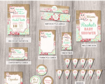 Baby Shower Party Package, Owl Party Package, Owl Baby Shower Invitation, burlap, Baby Owl baby shower Printable Party Package