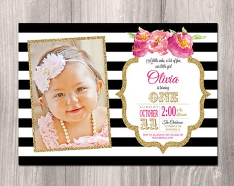First Birthday Invitation, Girl Birthday Invitation, First Birthday Invite, Black white gold, floral, Printable Invitation, digital invite