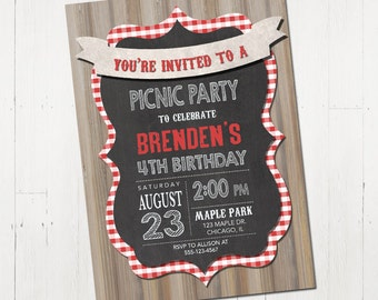 Picnic Birthday Party Invitation - Picnic Party Invitation - BBQ Party Picnic Invitation - Picnic Invitation - Printable Picnic Birthday