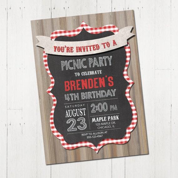 picnic birthday party invitation picnic party invitation etsy