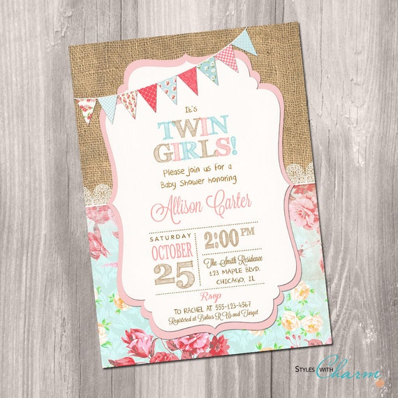Twins Baby Shower Invitation Twin Girls Baby Shower Invite Etsy
