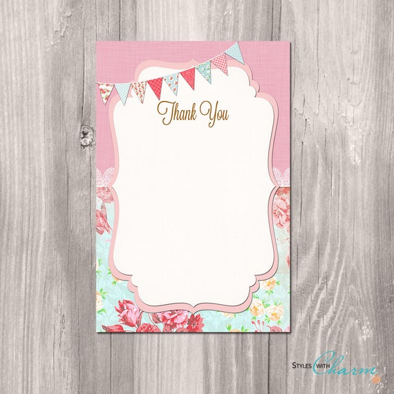 Shabby Chic Thank You Card Instant Download Shabby Chic Etsy