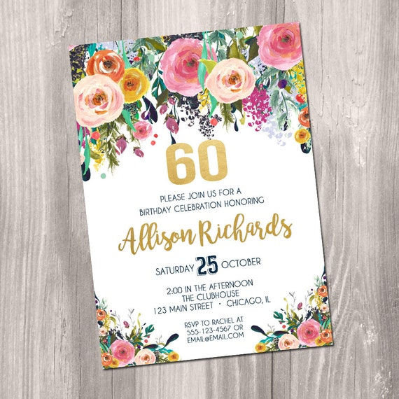 60th Birthday Invitation Female Woman Adult Surprise