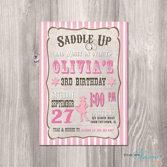 Cowgirl Birthday Invitation Printable