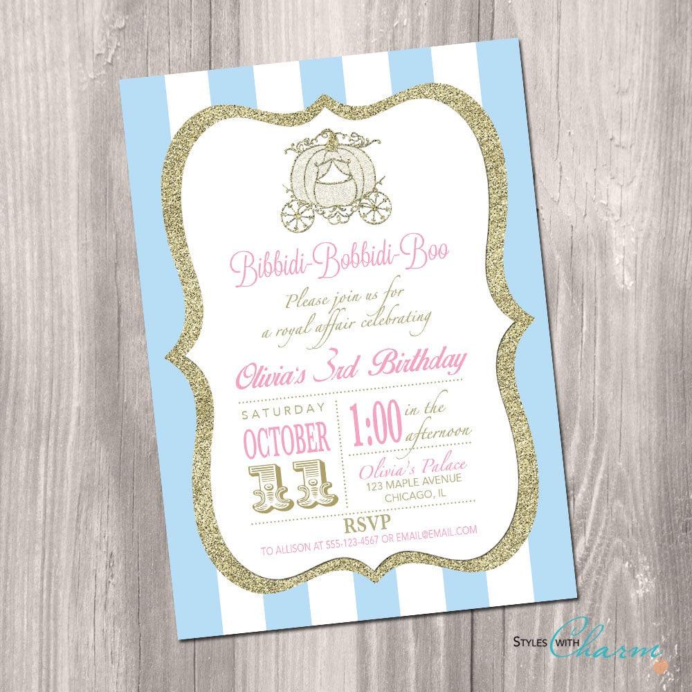 Cinderella Birthday Invitation Princess Birthday Invitation | Etsy