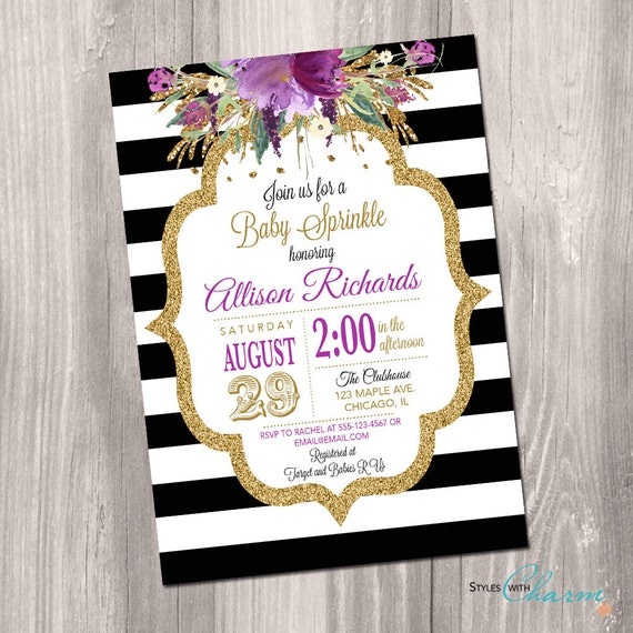 Purple baby shower invitation baby sprinkle invite black and etsy image 0 filmwisefo