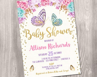 Butterfly baby shower invitation, butterfly invitation, watercolor floral boho, fairy baby shower invitation, digital, printable invitation
