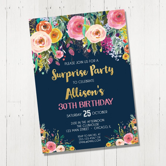 Surprise Birthday Invitation For Women Female Adult 21st 30th 40th 50th 60th 70th Invite Navy Blue