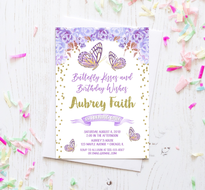Butterfly Birthday Invitation Girl 1st Purple