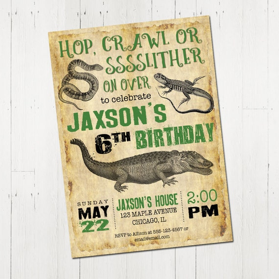 Reptile Birthday Invitation Reptile Invitation Reptile Etsy