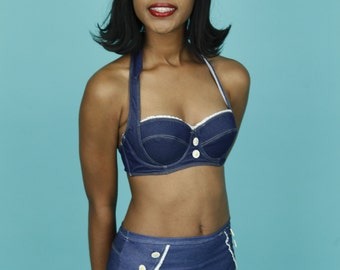 53d9f39ffb957 Denim High Waist Bikini Pin Up Style Swimsuit by Lucy B. Only size X-small  left!