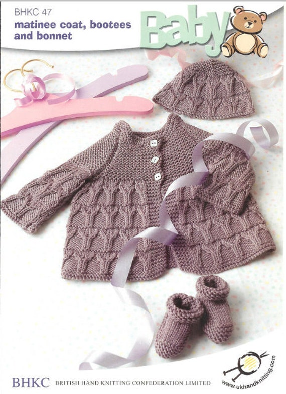 a9302a6d8 Matinee Coat Bonnet and Bootees knitting pattern pdf instant
