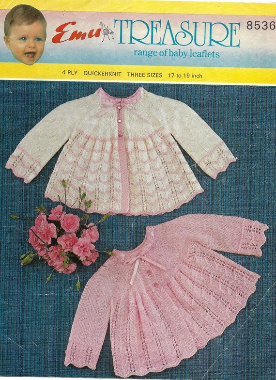 """fits 17-19/"""" Knitting pattern Gorgeous Baby Girl matinee coat in 3 or 4 ply"""