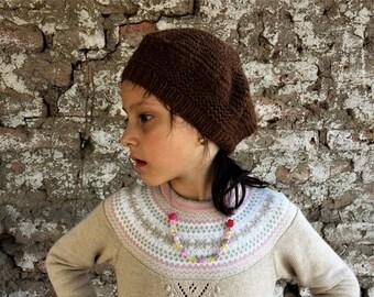 74b352f4 Alpaca Wool Beret - Hand Knit Tam Girls Pom Pom Hat