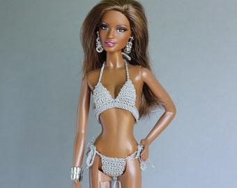 26dca69204 Barbie Basics doll clothes - silver gray Model Muse Barbie doll bikinis