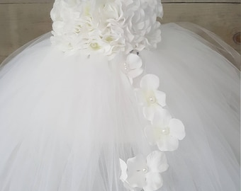 979f87d66fc Girls tutu dress. White tutu dress. Hydrangea top. White Flower girl dress.  Wedding dress. Baptism dress. Cascading flowers.