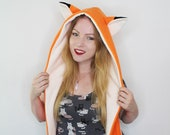 Cute kawaii fox fleece cosplay spirithood raverhat hat. Kitsune, Manga, Anime hat, great for rave party, summer festival or comiccon