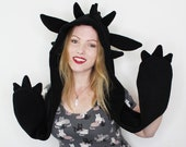 Snuggly black dragon cosplay spirithood scoodie, great gift cosplayer and dragon fan, gothic, goth, witchy, festival, raverhood, rave outfit