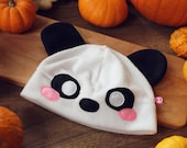 Cute panda bear fleece beanie hat, great gift for anime, kawaii, cute animals loving friend