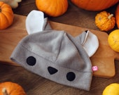 Cute grey wolf fleece beanie hat, great gift for animal loving friend