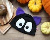 Kawaii anime black cat cosplay fleece beanie hat, great gift for a cat lover or geeky friend