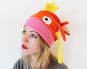 Koi karp fish fleece slouchy cosplay beanie hat with ears, fins, cute face and tail, gift for cosplayer friend