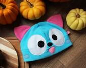 Happy kitty cat anime cosplay fleece beanie hat, neko cosplay costume, blue cute kawaii kitten costume, gift for nerd,geek