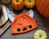 Cute kawaii fox fleece cosplay beanie hat, available. With or without super cute face, Kitsune, Manga, Anime hat