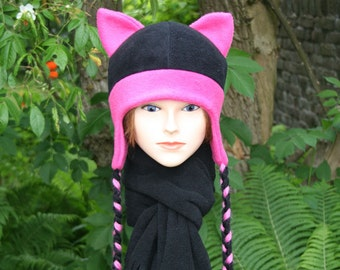 b5701e73610 Cute comfy hat with cat ears and braids