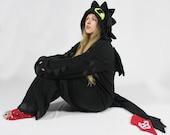 Black dragon cosplay kigurumi (onesie, jumpsuit, romper, cosplay costume, hoodie, wings, tail, gothic, fantasy,halloween)