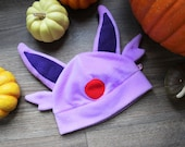 Pastel lilac fleece cosplay beanie hat with ears
