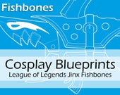 Digital cosplay blueprint / cosplay pattern 'Fishbones' (Shark bazooka prop from Jinx from League of Legends) by Pretzl Cosplay - PDF