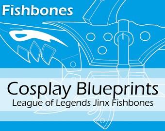 Digital cosplay pattern blueprints league of legends etsy digital cosplay blueprint cosplay pattern fishbones shark bazooka prop from jinx from league of legends by pretzl cosplay pdf malvernweather Gallery