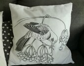 Pillowcase with handdrawn bird, fits every interior perfectly!
