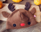 Cute reindeer animal fleece beanie hat, Rudolph the rednosed reindeer