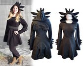 Black dragon cosplay dress costume, gothic goth style black dress with long sleeves, wings, ears and dragon tail