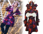Galaxy dragon cosplay dress, also available without ears or with cat ears