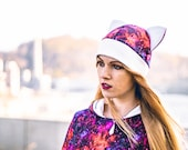 Cute galaxy nebula cosplay beanie with cat ears