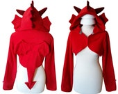 Red dragon cosplay costume hoodie (shrug style), for fantasy fan, medieval, renfaire, Smaug, fantastic beasts, mythical creature, goth