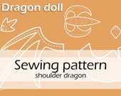 Digital sewing pattern 'Gothic shoulder dragon plushie' by Pretzl Cosplay - PDF