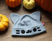 Cute comfy hat with cat ears (beanie)! Tabby cat coloured, stripey cat. Great gift for crazy cat lady friend, cat lover