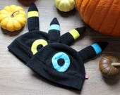 Fleece cosplay beanie hat with ears (with yellow or blue details) Best gift for a anime or gaming lover