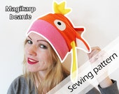 Digital sewing pattern + instructions 'Pokemon Magikarp beanie fleece hat' by Pretzl Cosplay - PDF