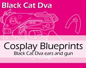 Digital cosplay Worbla pattern blueprints 'Overwatch Black Cat Dva gun and neko kitty ears' by Pretzl Cosplay - PDF