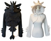 GIFT SET  black and white dragon couple, with 1 black shrug and 1 white shrug, gift for fiance, couple cosplay