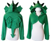 Green dragon cosplay costume hoodie (shrug style), great gift for fantasy fan, medieval, renfaire, fantastic beasts, mythical creature, goth