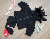 Black dragon baby / children cosplay halloween costume hoodie, super cute gift for newborn, baby shower
