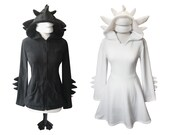 GIFT SET  black and white dragon couple, with 1 black hoodie and 1 dress, gift for engagement