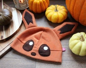 Cute fox cosplay beanie hat with cute ears, gift for anime, nerd, geek, animal or gaming lover