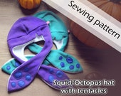 Digital sewing pattern 'Funny squid/octopus fleece hat with tentacles' by Pretzl Cosplay - PDF